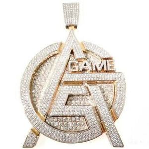 3.9ct Round Sim Diamond 14k Yellow gold Silver Large Gaming Name Mens Pendant