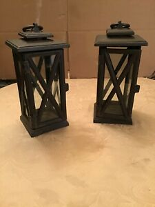 """2: 12 x 5 x 5"""" Iron Lantern 4 Sided Non Electrical Candle Holding Able to Hang"""