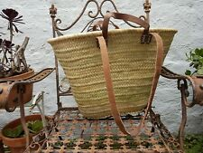 'French' Market Basket Hand Made in Morocco Large with 2 sets leather handles