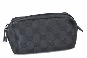 Authentic GUCCI Pouch GG Canvas Leather 29596 Black E1468