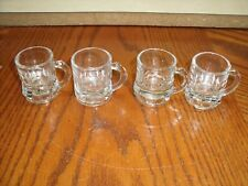 4 pc lot Federal Glass Clear Miniature Beer Mug Shot Glass Signed F with Shield