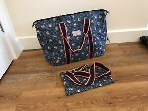 NEW Cath Kidston Foldaway Holiday Bag With X Body Strap BNWT Lucky Bunch Navy