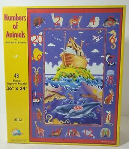 """SunsOut Numbers Of Animals Floor Puzzle, 48 Pieces 36""""x24"""""""
