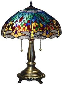 """23"""" Tiffany Style Blue Dragonfly Bronze Table Accent Lamp Light w Stained Glass"""