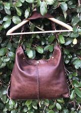 Lucky Brand handbag dark brown leather whipstitch shoulder bag hobo tan trim XL