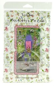 Just Nan Miss Kitty's Pin Cube Pattern with Embellishments and Kitty Pin