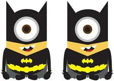 2 X BATMAN MINION IRON ON T SHIRT TRANSFERS WHITE/LIGHT FABRICS