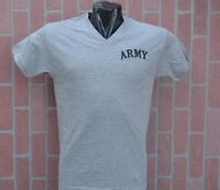 ARMY GRAY T SHIRT V-NECK  SIZE MEDIUM