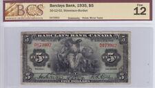 1935 Barclays Bank (Canada) $5 Bank Note - Bcs Graded F 12