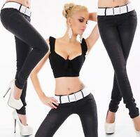 Jeans Hüft Hose Skinny Röhrenjeans Stretch Slim Fit black used Gürtel XS-XXL