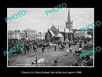 OLD LARGE HISTORIC PHOTO OF LISTOWEL KERRY IRELAND, THE TOWN SQUARE c1900 1
