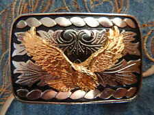 NEW HANDCRAFTED SILVER / BLACK METAL BELT BUCKLE GOLD METAL  EAGLE WESTERN