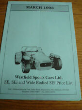 WESTFIELD SPORTS CARS LTD.FULL PRICES LIST AND ORDERING 'SALES BROCHURE' 1993