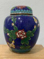 Vintage Possibly Antique Chinese Cloisonne Ginger Jar w/ Floral Decoration