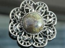 LOVELY VINTAGE 50/60'S REAL BROWN/GREEN/GREY AGATE STONE FRAMED FLOWER BROOCH