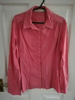 REISS WOMENS PINK WHITE STRIPED BLOUSE SHIRT SIZE 14 LENGTH 26 ROLL TAB SLEEVE