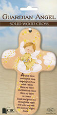 GUARDIAN ANGEL WOOD BABY CROSS - ANGELS BLESS AND ANGELS KEEP ANGELS GUARD ME ME