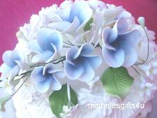 Sugar Gum Paste Ivory White & Blue Hawaiian Plumeria Cake Decorating Flowers