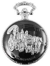 Taschenuhr weiß Silber grau Kutsche Pferde analog Quarz D-480722000018350