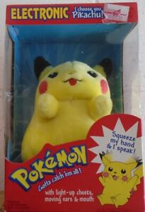 "Pokemon Electronic Talking Pikachu ""I Choose You"" Light Up Cheeks Hasbro SEALED"