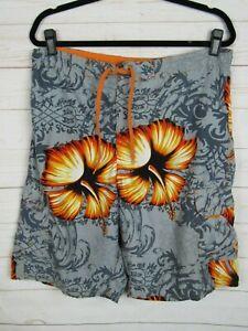 OP Mens Grey w/Orange Floral Swim Trunks w/Liner Size L W1043