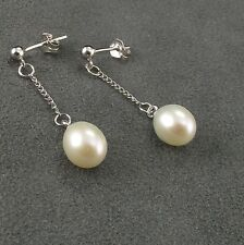 Sterling Silver White Freshwater Pearl Dangle Stud Earrings
