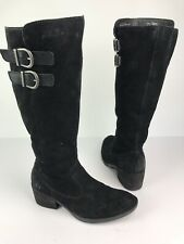 Born Bley Suede Black Buckle Riding Boot Size 7 M