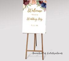 Welcome Sign - Wedding / baby shower / engagement / bridal Burgundy Blue Gold
