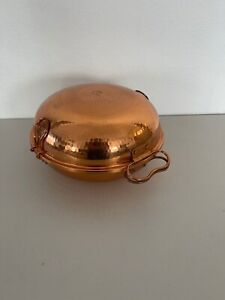 """Hammered Copper Cataplana Seafood Steamer Pot Pan 11.5"""" Excellent Condition!"""