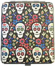 Eclipse Candy Skull Flowers Leatherette Crush Proof Metal Cigarette Case, 100s