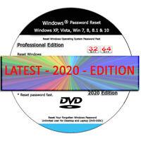 BRAND NEW - WINDOWS PASSWORD RESET - 32 64 Bit Recovery Boot Password Reset -DVD