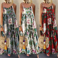 Womens Ladies Floral Strappy Loose Sleeveless Pleated Maxi Dress Summer Holiday