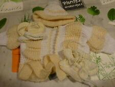 ,gants,chaussons  bonnet  gilet  tricoté s mamie   4piéces neuves poupon ,bébé