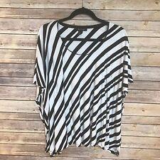 WHITE HOUSE BLACK MARKET Black and White Striped Poncho Like Top Size Medium