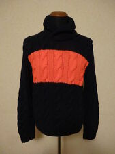 Polo Ralph Lauren Maglione 100% Cashmere  L $1000 Hand Knit Cable Shawl Sweater