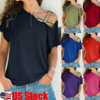Women's One shoulder Short Sleeve Loose Blouse Tops Club Casual Loose T Shirt US