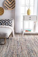 3'X10' Feet Rectangle Braided Denim Jute Floor Mat Handmade Reversible Area Rug