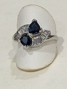 Vintage Platinum Sapphire and Diamond Art Deco Ring. Very Fine Quality. Lg Size