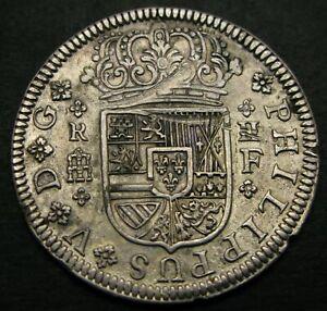 SPAIN (Kingdom) 2 Reales 1723 F - Silver - Philip V. - VF/XF - 1154