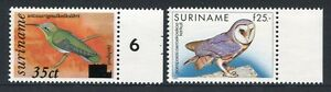 Surinam 1993 Vögel Birds Uccelli Oiseaux Eule Owl Freimarken 1429-1430 MNH
