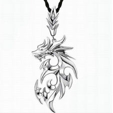 Hot Silver Stainless Steel Dragon Pendant Men Necklace With Leather Chain Gift