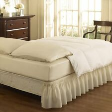 Easy Fit 11577Queen King Wrap Around Solid Ruffled Queen King Bed Skirt 80X60