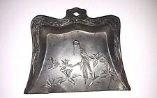 Antique Oriental Metal(LEAD?) Silent Butler Ornate Crumb Catcher Floral Bird