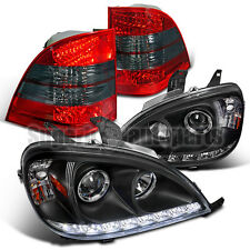 1998-2001 W163 ML SMD DRL Projector Headlights Black+ LED Tail Lights Red/ Smoke