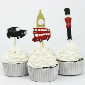 24 London Cupcake Toppers Big Ben London Taxi Red Bus Queens Guard