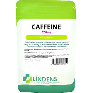 Caffeine 200mg - energy 4 x stronger than Pro Plus (200 capsules) Lindens