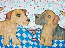 Norfolk Terrier drinking a Martini Wall Art Home Decor 11x14 Dogs by Ksams
