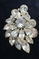 "Vintage Signed Weiss Crystal Ice Clear Faceted Rhinestone 2.5"" Pin Brooch"
