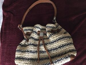 BRIGHTON SIERRA STRAW Blue Hobo w Leather Handle Purse Bag