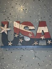 Usa Wooden Sign. Red, White & Blue